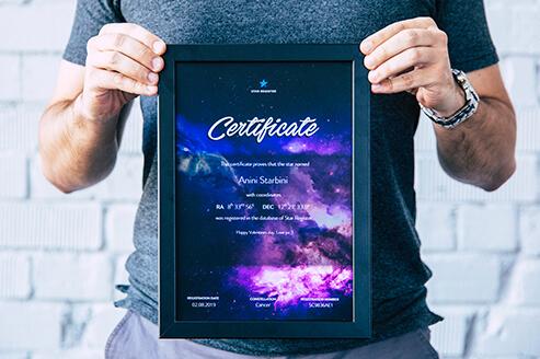 Framed star certificate